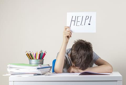 student head on desk